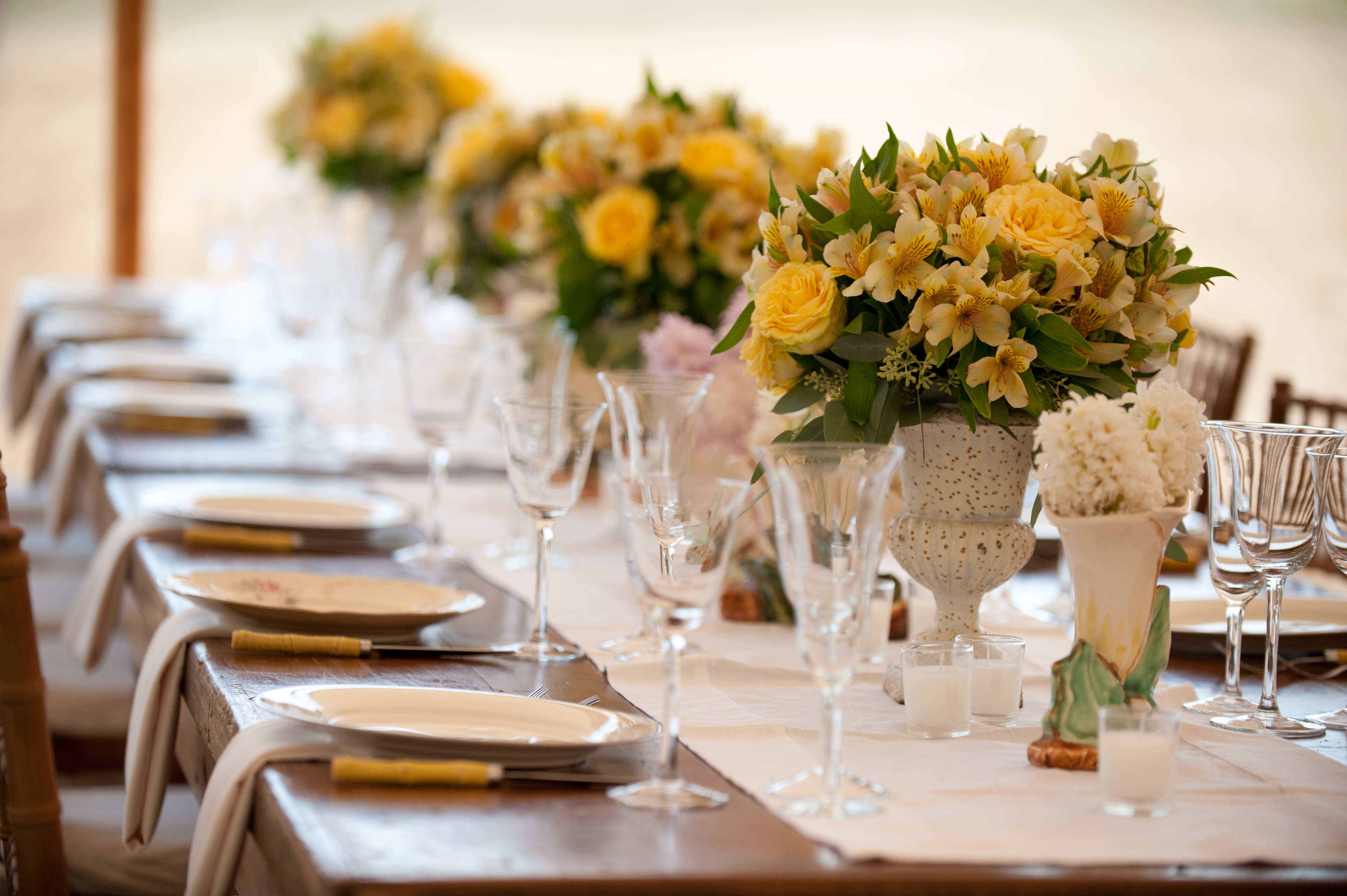 Location: East Moriches, New York / Florist And Tablescape Design: Karen  Lenahan Designs Assisted By Daria Culver Events / Rentals: Party Rental  Ltd. ...